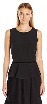 Lark & Ro Women's Sleeveless Velvet Trim Peplum Top