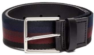 Paul Smith Leather Trimmed Striped Canvas Belt - Mens - Black