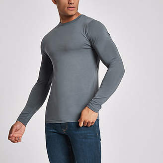 River Island Dark grey muscle fit long sleeve T-shirt