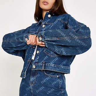 River Island Denim 'Couture' monogram print denim jacket