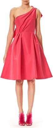 Carolina Herrera One-Shoulder Cocktail Dress with Back Bow Detail