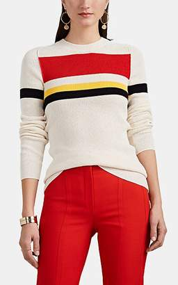 Victoria Beckham Women's Striped Rib-Knit Cotton-Blend Top - Vanilla