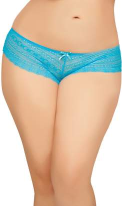 Seven Til Midnight SEVEN 'TIL MIDNIGHT Women's Plus-Size Tangled Lace Panty with Lace-Up Detail