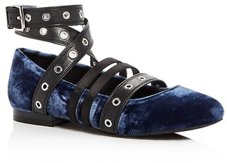 Kenneth Cole Wade Velvet Embellished Wraparound Ankle Strap Ballet Flats $150 thestylecure.com