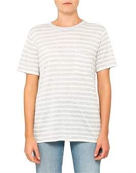 Alexander Wang Wide Striped Slub Jersey S/S Tee W/ Pocket