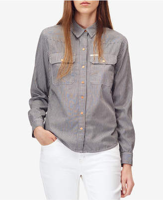 Calvin Klein Jeans Cotton Railroad Striped Snap-Front Shirt
