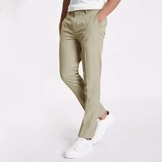 River Island Stone herringbone skinny fit smart pants