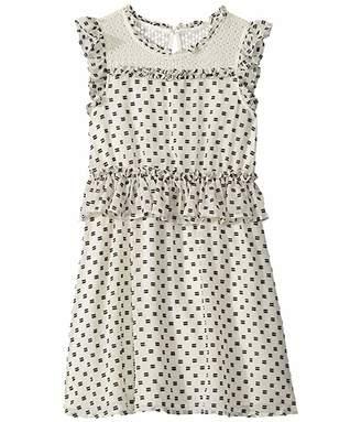 BCBGMAXAZRIA Girls Eyelash Dobby Lace Yoke Dress (Big Kids)