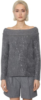 Ermanno Scervino OFF THE SHOULDER WOOL KNIT SWEATER