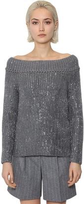 Ermanno Scervino Off The Shoulder Wool Knit Sweater