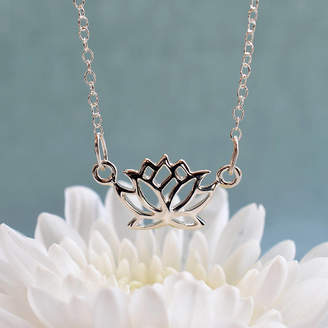 Lily Charmed Silver Lotus Flower Necklace