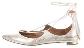 Aquazzura Christy Metallic Pointed-Toe Flats