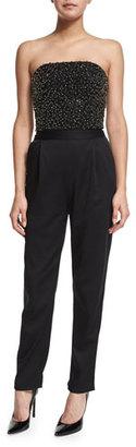 Alice + Olivia Jeri Beaded Strapless Jumpsuit, Black $695 thestylecure.com