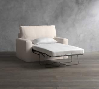 Pottery Barn Pearce Square Arm Slipcovered Twin Sleeper Sofa with Robin Mattress
