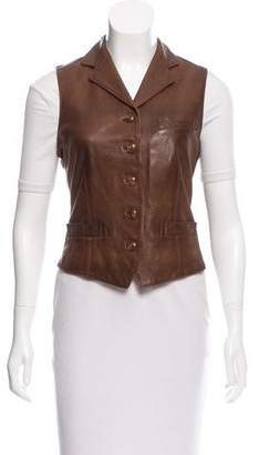 Ralph Lauren Leather Notch-Lapel Vest