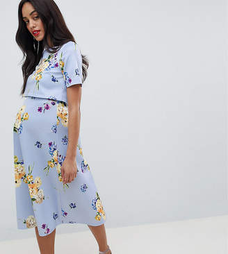 Asos Nursing DESIGN Maternity nursing scuba prom dress with crop top in occasion floral print