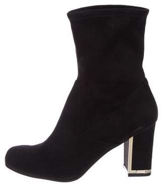 Karl Lagerfeld Suede Round-Toe Ankle Boots