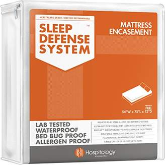 HOSPITOLOGY PRODUCTS Sleep Defense System - Waterproof/Bed Bug/Dust Mites - PREMIUM Zippered Mattress Encasement & Hypoallergenic Protector - 54-Inch by 75-Inch