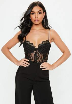 Missguided Black Strappy Lace Cupped Panel Bodysuit, Black