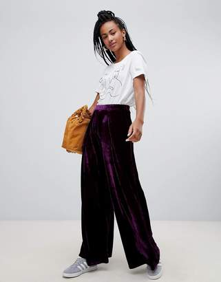 Glamorous high waist wide leg pants in luxe velvet
