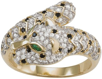 14k Gold Over Silver Cubic Zirconia Panther Bypass Ring