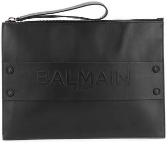 Balmain embossed logo clutch bag