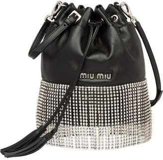 eb7d3b4d698 Miu Miu Leather bucket bag with crystals