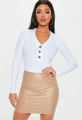 Missguided Nude Faux Leather Mini Skirt