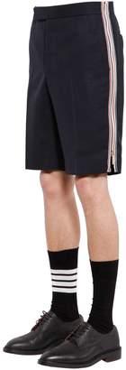 Thom Browne Striped Side Zip Wool Shorts