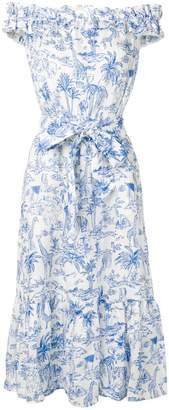 Tory Burch jungle print off shoulder dress