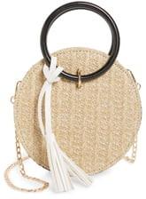 Knotty Round Straw Crossbody Bag