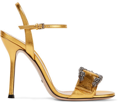 Gucci - Dionysus Metallic Leather Sandals - Gold
