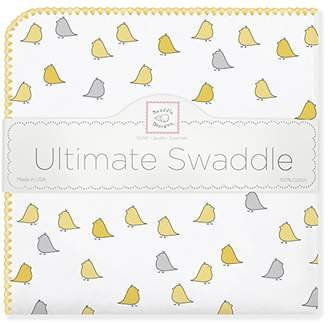 Swaddle Designs Ultimate Swaddle Blanket, Premium Cotton Flannel, Yellow Jewel Tone Little Chickies