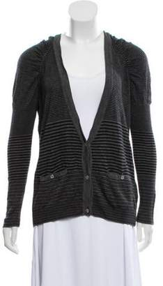 Stella McCartney Striped Rib Knit Cardigan grey Striped Rib Knit Cardigan