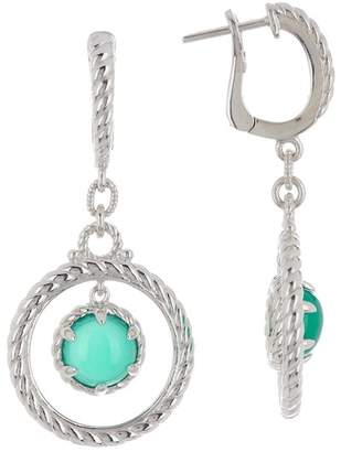 Judith Ripka 14K Gold Plated Sterling Silver Classic Frontal Hoop Stone Dangle Earrings