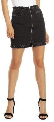 Dex Studded Frayed Cotton Skirt