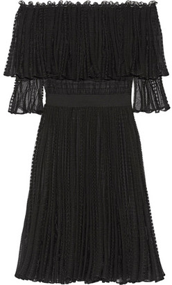Alexander McQueen - Off-the-shoulder Ruffled Knitted Dress - Black $3,075 thestylecure.com