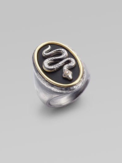Elizabeth and James Black Onyx, Diamond, Sterling Silver & 14K Gold Snake Ring