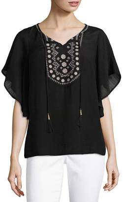 Liz Claiborne Flutter Sleeve Split Crew Neck Woven Embroidered Blouse