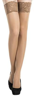 Stocking Fox Women's 20-Denier Lace Top Stay-Up Thigh-High Sheer Stocking