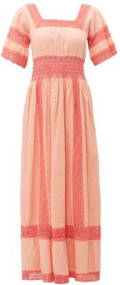 Luisa Beccaria Square Neck Lace Trim Cotton Dress - Womens - Pink