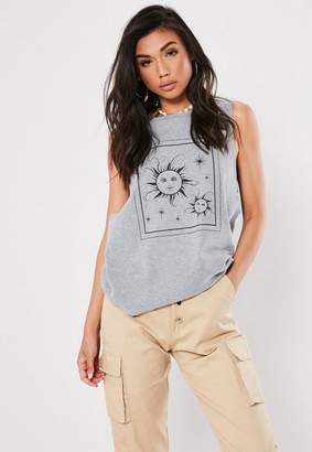 Missguided Gray Sun Graphic Dropped Armhole Tank Top Top