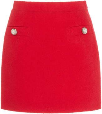Alessandra Rich Crystal-Embellished Wool-Blend Tweed Skirt Size: 38