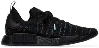 adidas black NMD R1 knitted sneakers