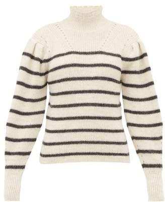 Etoile Isabel Marant Georgia Striped Alpaca Blend Sweater - Womens - White Black