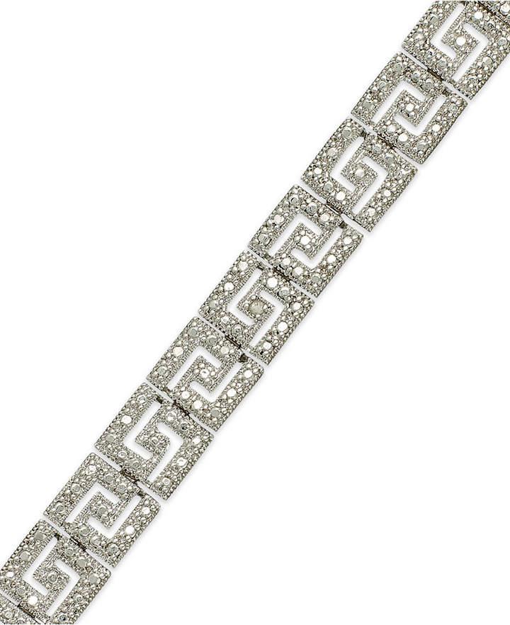 Macy's Sterling Silver-Plated Diamond Accent Greek Key Bracelet