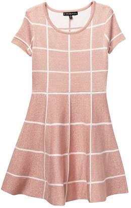 My Michelle mymichelle Lurex Windowpane Sweater Dress (Big Girls)