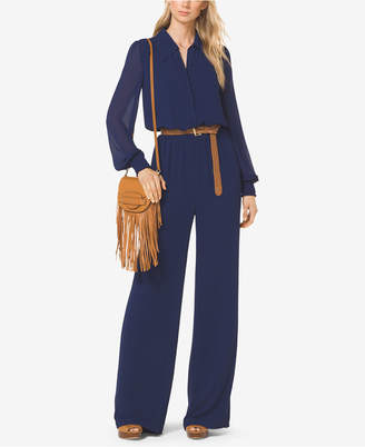 Michael Kors Sheer-Sleeve Jumpsuit