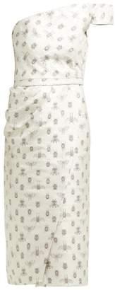 Johanna Ortiz Little Details Insect Print Satin Midi Dress - Womens - Silver Multi