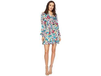 Laundry by Shelli Segal Floral Print Godet Dress with Ruffle Details Women's Dress